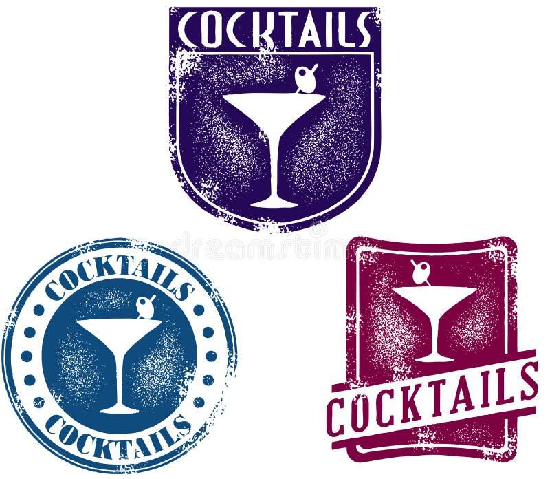 Selos do cocktail do estilo do vintage ilustração do vetor