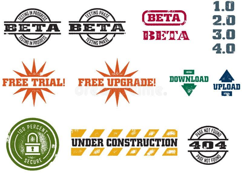 Selos do desenvolvimento do Web do vetor ilustração do vetor
