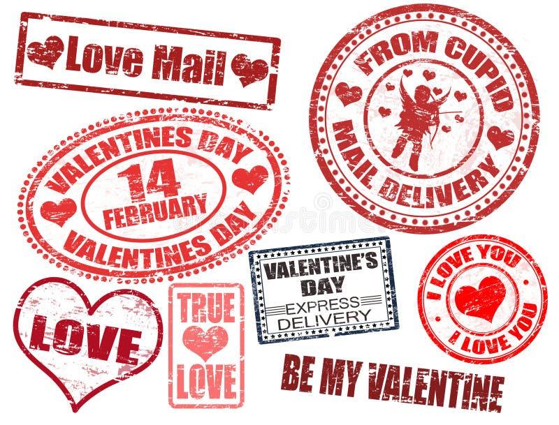 Selos do dia do Valentim ilustração stock