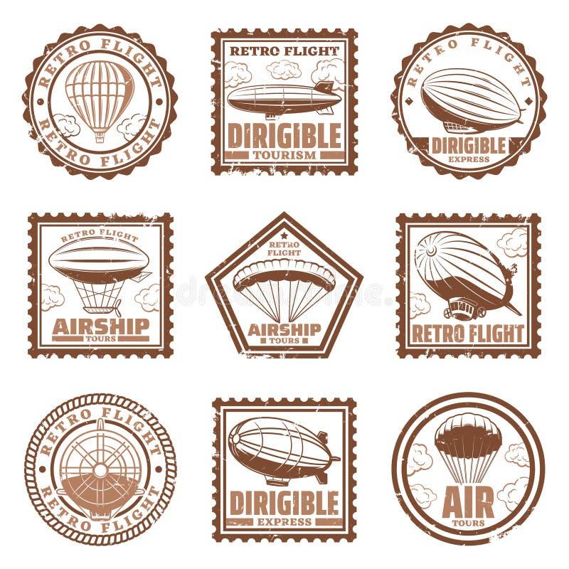 Selos do dirigível do vintage ajustados ilustração stock