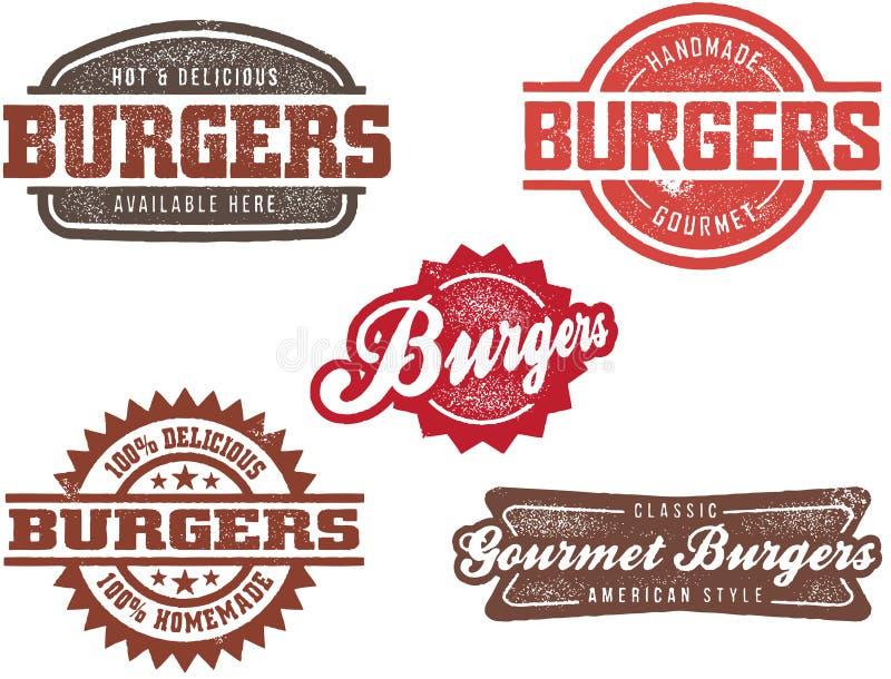 Selos do hamburguer do estilo do vintage ilustração do vetor