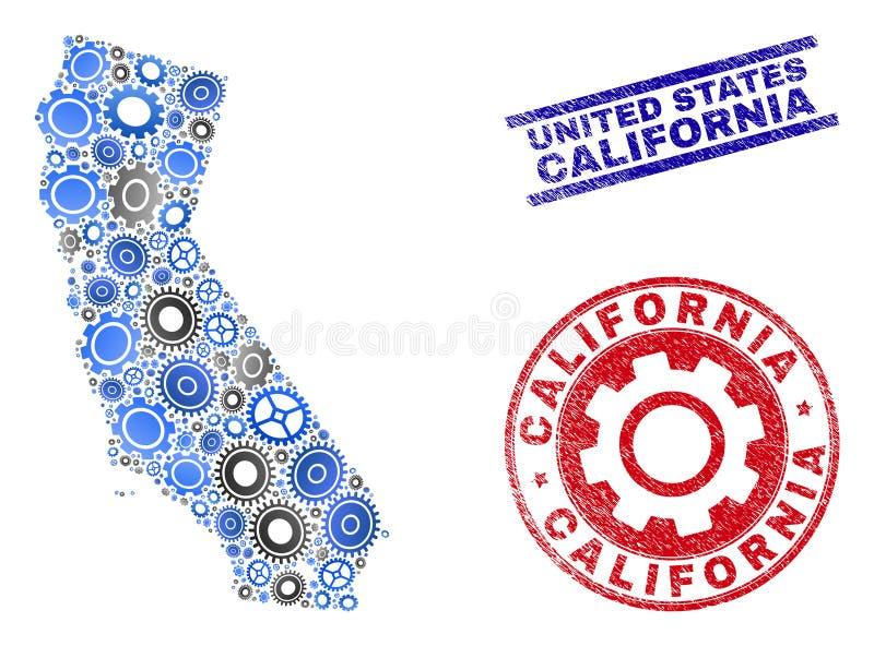 Selos do mapa e do Grunge do estado de Califórnia do vetor da composição da oficina ilustração do vetor