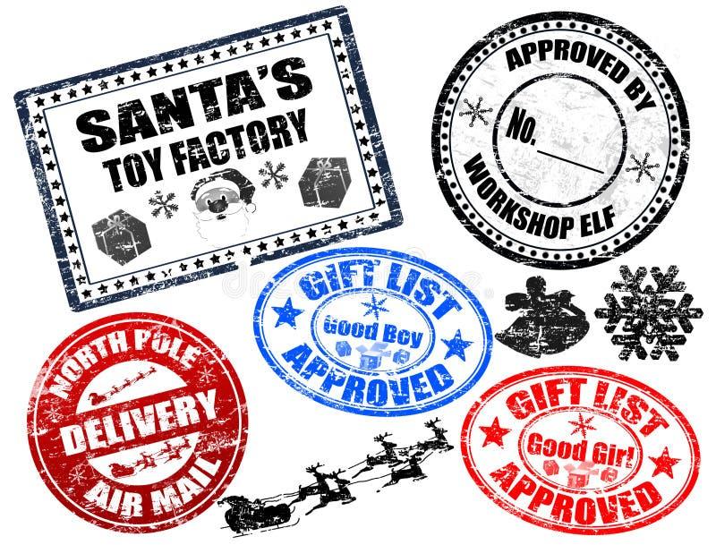 Selos do Natal ajustados ilustração stock