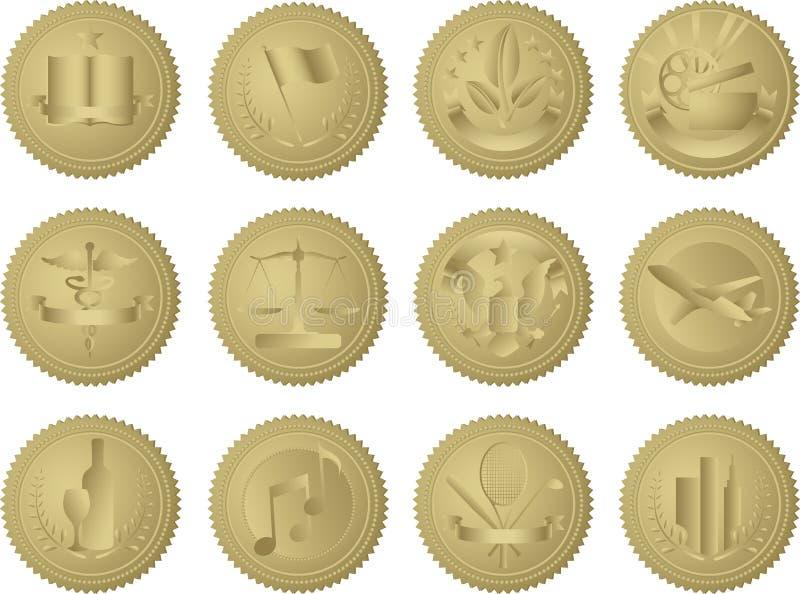 Selos do ouro da indústria ilustração do vetor