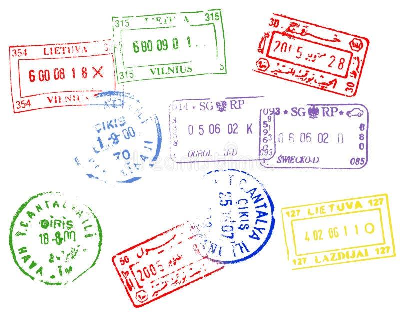 Selos do passaporte ilustração royalty free