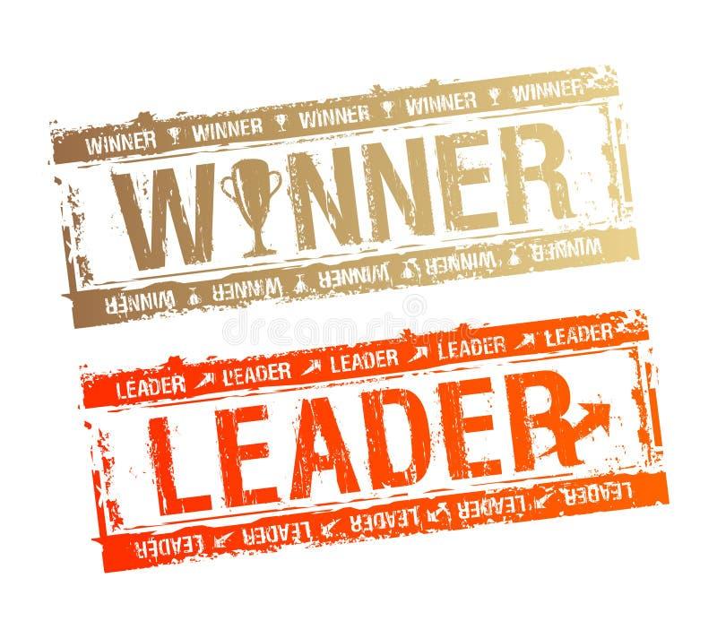 Selos do vencedor e do líder. ilustração stock