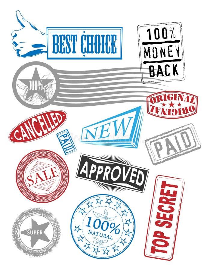 Selos do vetor com vários Tag ilustração royalty free