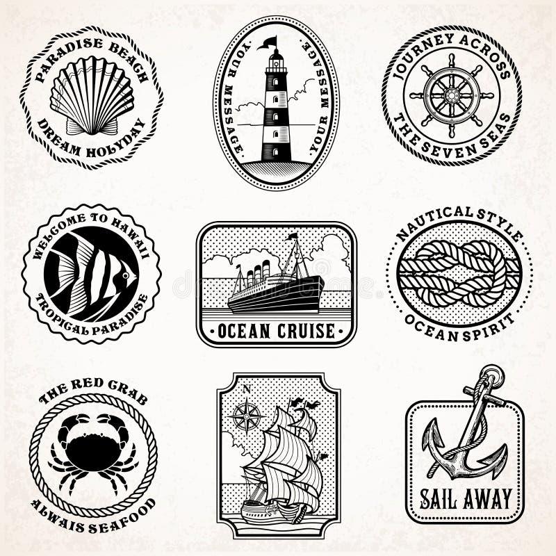 Selos do vintage da viagem do mar do vetor ilustração royalty free