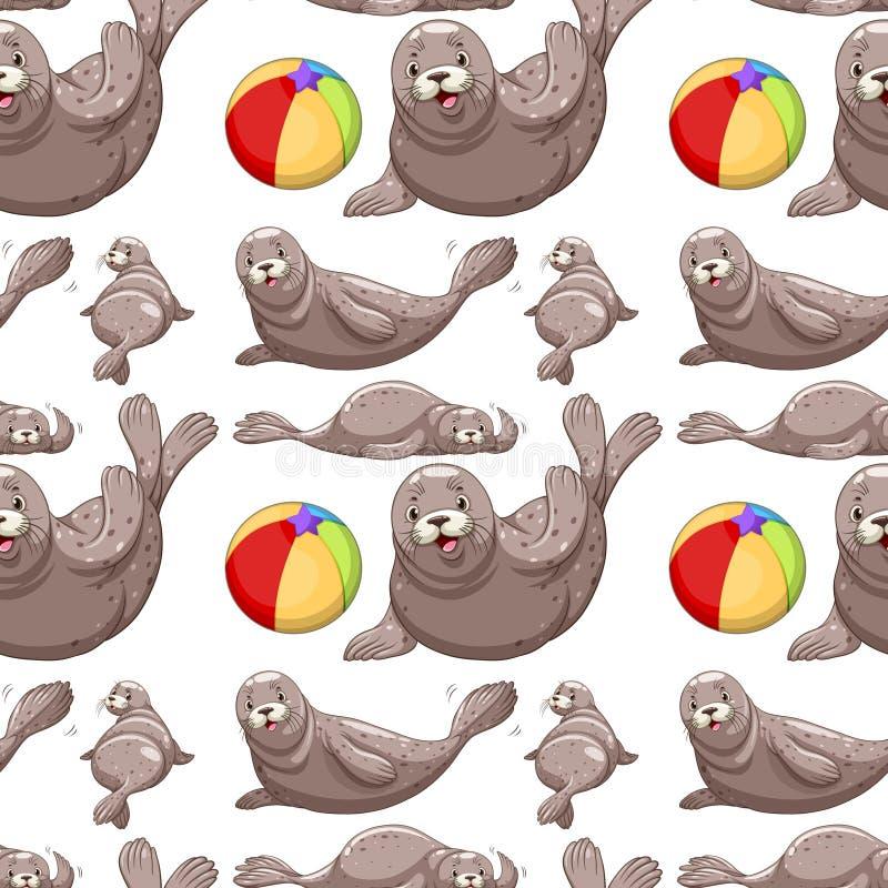 Selos e bola de praia sem emenda ilustração royalty free