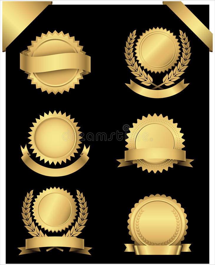 Selos e cantos do ouro ilustração do vetor