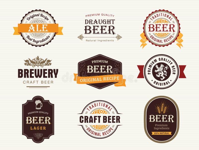 Selos e selos da cerveja ilustração royalty free