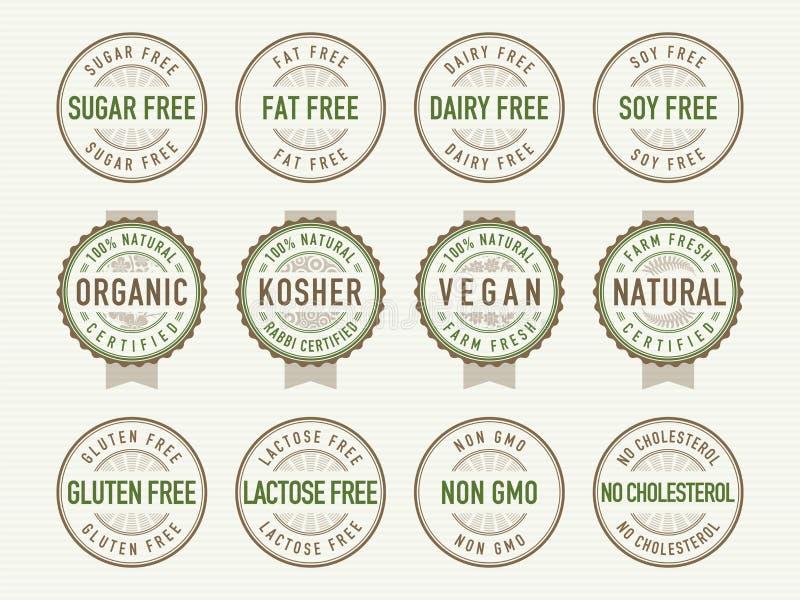 Selos e selos da dieta ilustração do vetor