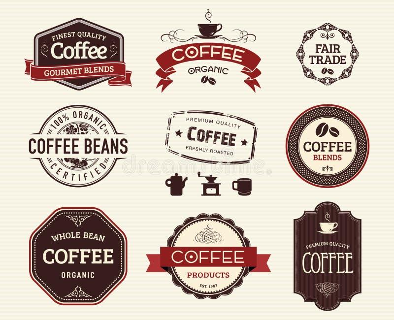 Selos e selos do café ilustração royalty free