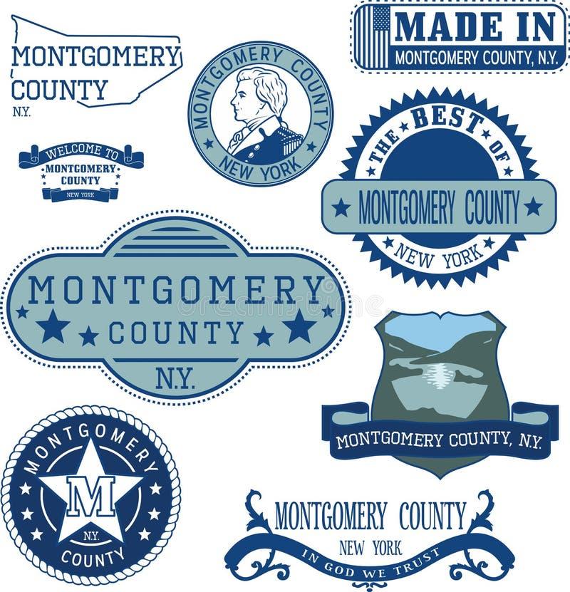 Selos e sinais genéricos do Condado de Montgomery, NY ilustração royalty free