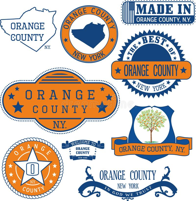 Selos e sinais genéricos do Condado de Orange, NY ilustração royalty free