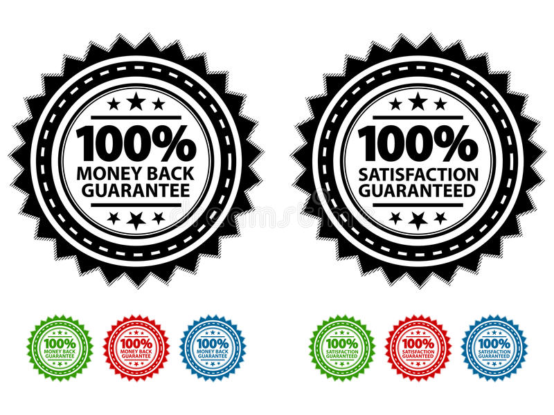 Selos garantidos satisfação ilustração royalty free