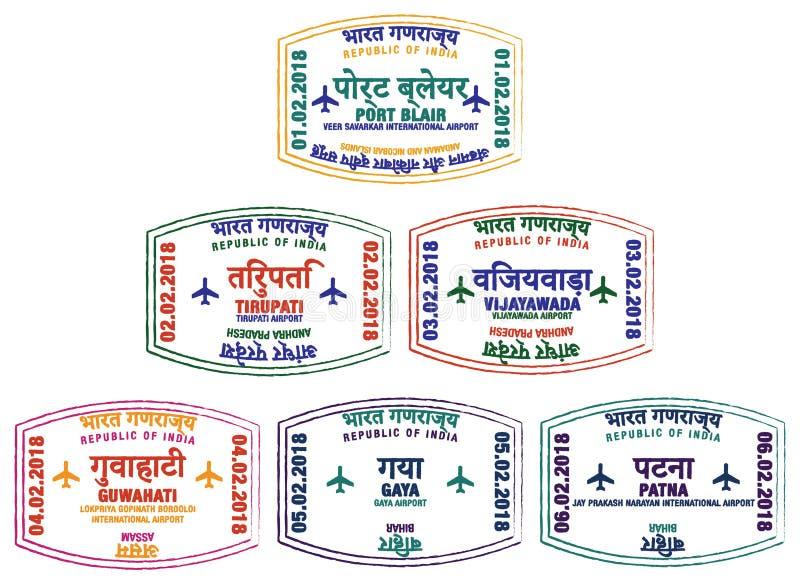 Selos indianos do aeroporto ilustração stock