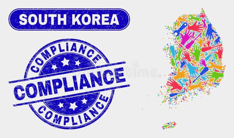 Selos industriais da conformidade do mapa e do Grunge de Coreia do Sul ilustração royalty free