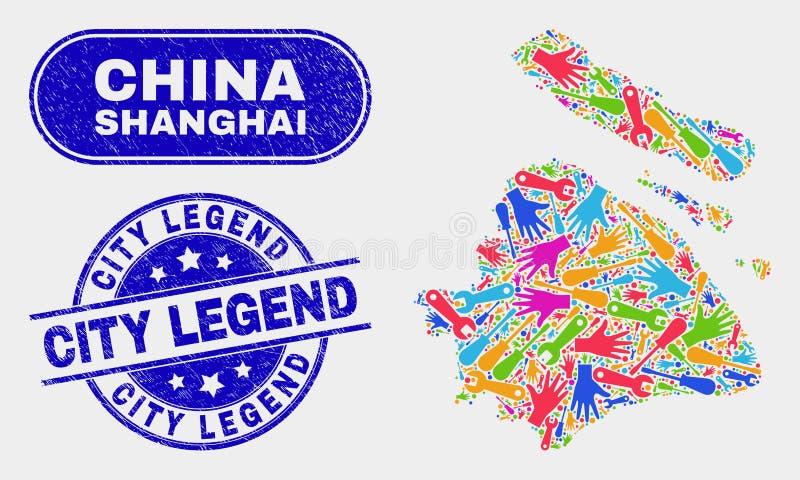 Selos industriais do selo da legenda da cidade do mapa e do Grunge da cidade de Shanghai ilustração stock