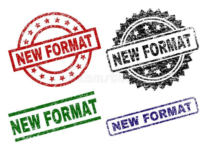 Selos NOVOS Textured danificados do selo do FORMATO ilustração royalty free