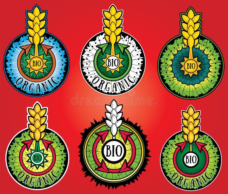 Selos orgânicos do projeto de produto da exploração agrícola do trigo bio imagens de stock royalty free