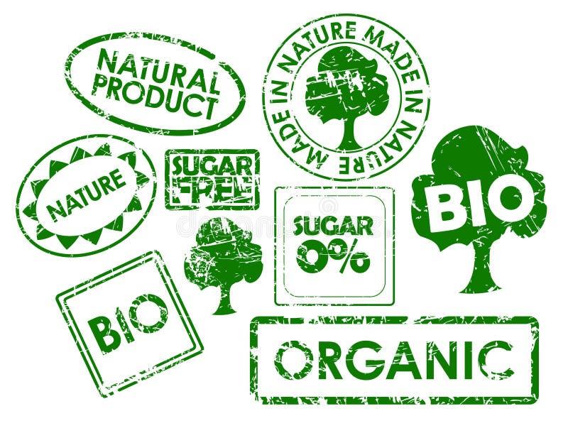 Selos para o alimento saudável orgânico ilustração do vetor