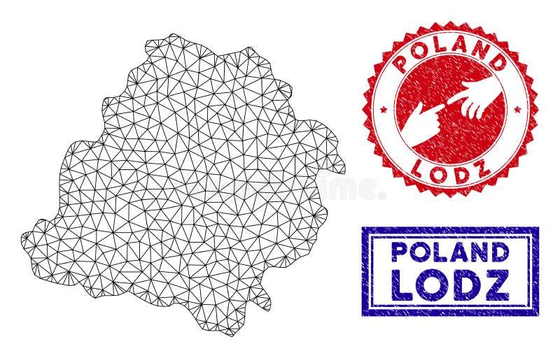 Selos poligonais de Mesh Lodz Voivodeship Map e do Grunge ilustração stock