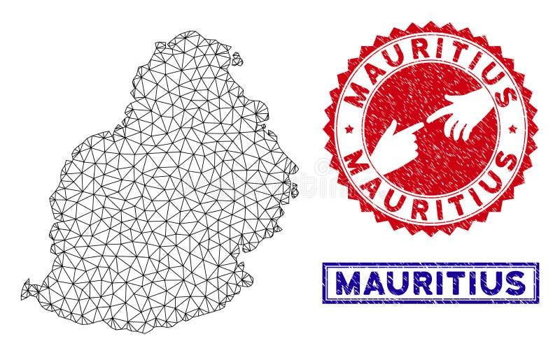Selos poligonais de Mesh Mauritius Island Map e do Grunge ilustração do vetor