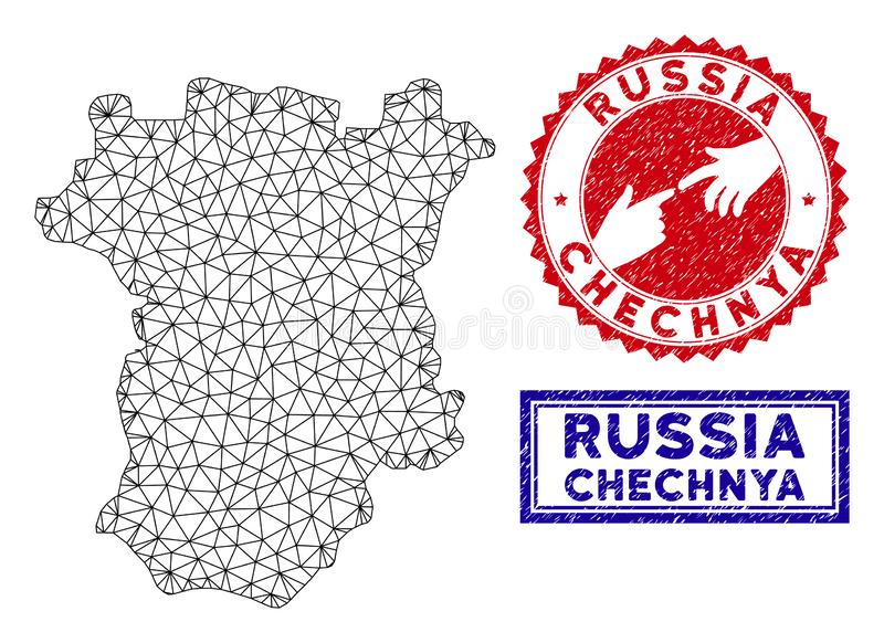 Selos poligonais do mapa e do Grunge de Chechnya do quadro do fio ilustração do vetor