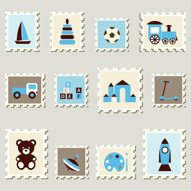 Selos postais ajustados com brinquedos. ilustração do vetor