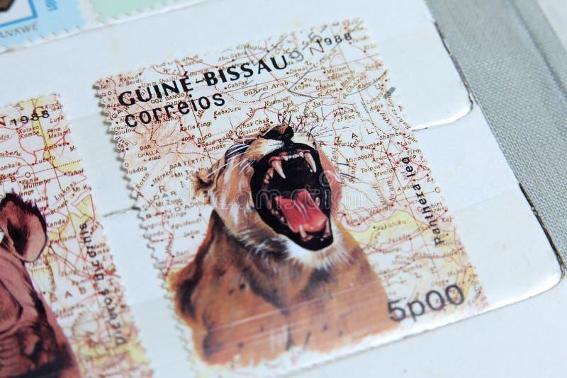 Selos postais, animais selvagens de Guine-Bissau foto de stock