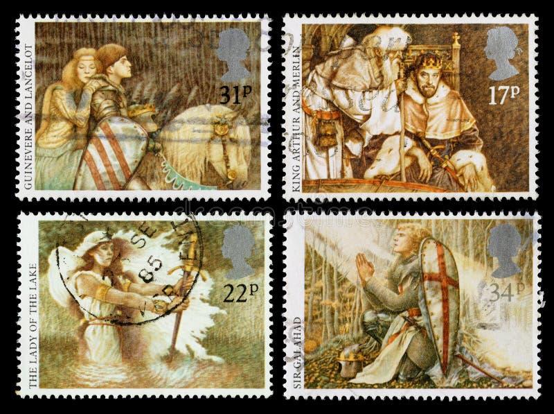 Selos postais Arthurian das legendas de Grâ Bretanha foto de stock royalty free