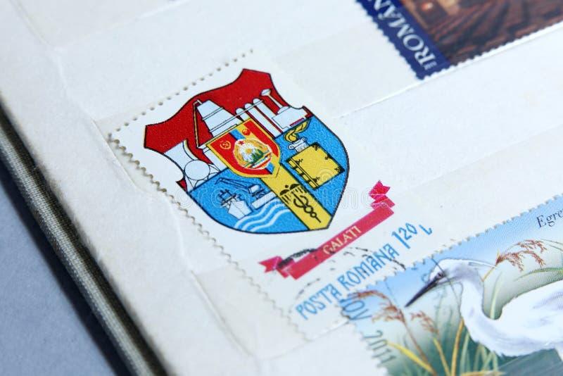 Selos postais, cidade de Galati em Romênia foto de stock