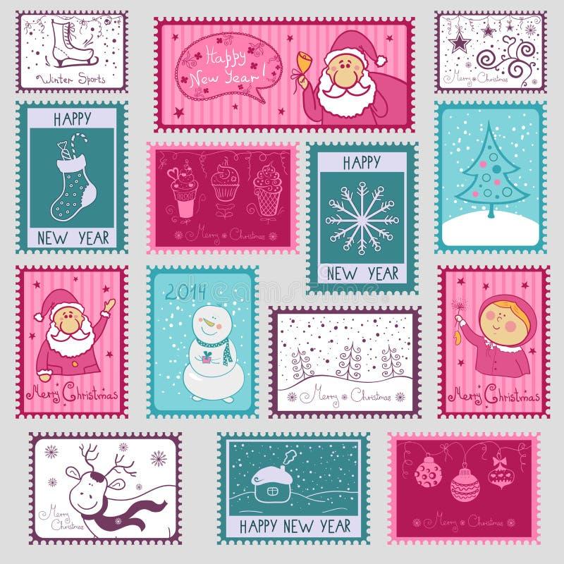 Selos postais com ilustração do Natal ilustração do vetor