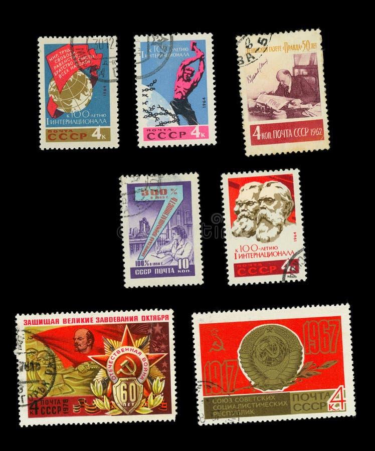 Selos postais comemorativos da URSS imagens de stock