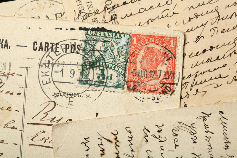Selos postais da rainha Victoria, Austrália, Queensland fotos de stock