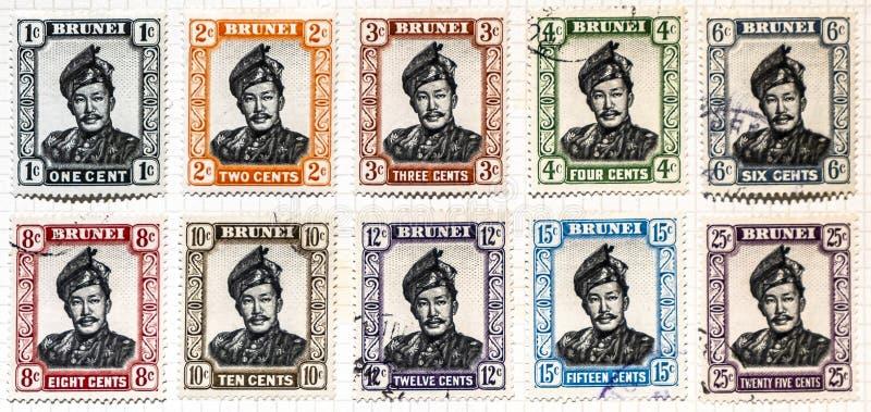 Selos postais de Brunei Darussalam fotos de stock