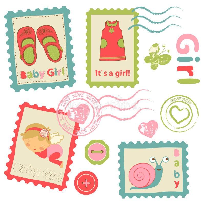 Selos postais do anúncio do bebê ilustração stock
