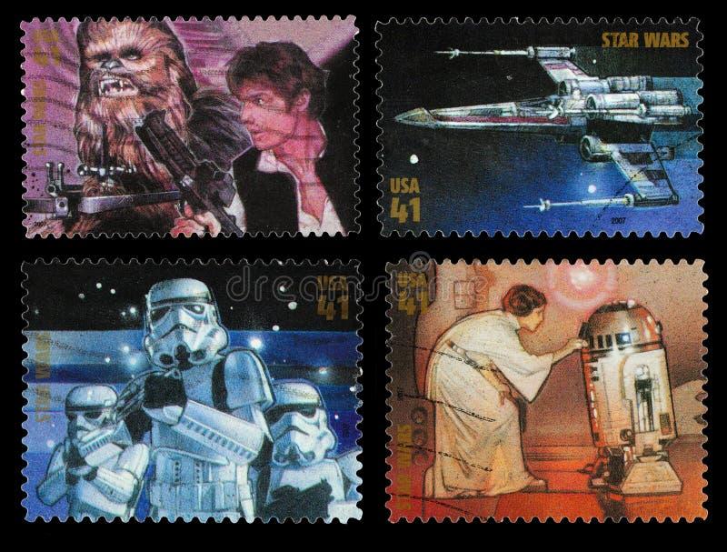 Selos postais do caráter de Star Wars imagem de stock royalty free