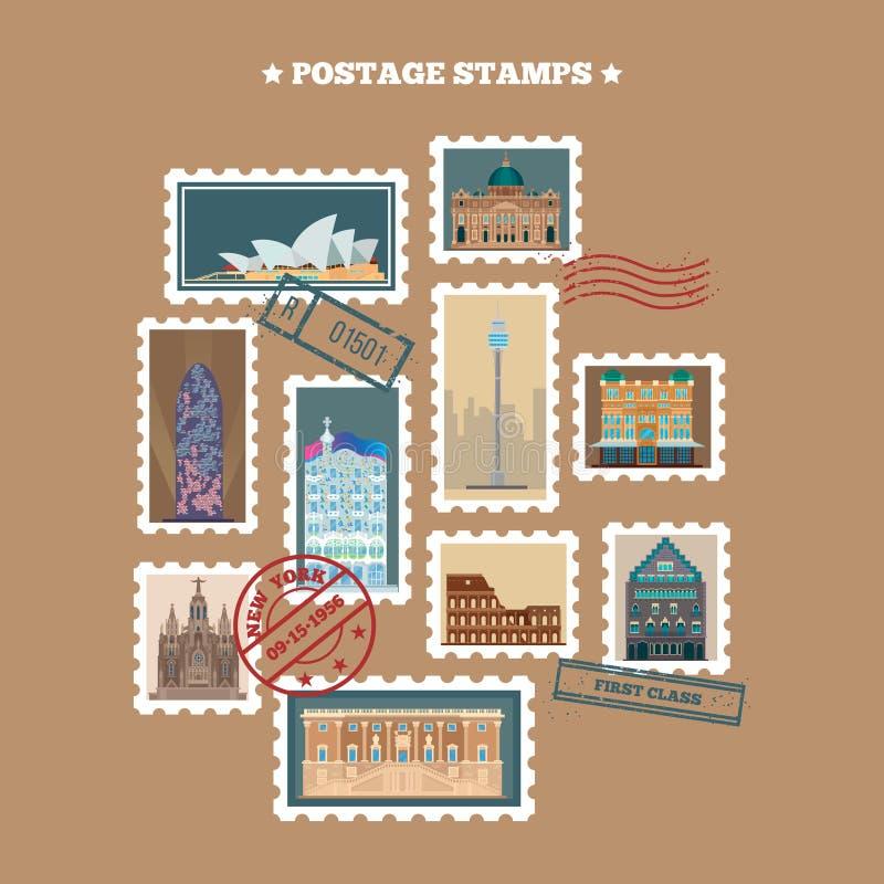 Selos postais do curso Edifícios famosos ilustração royalty free