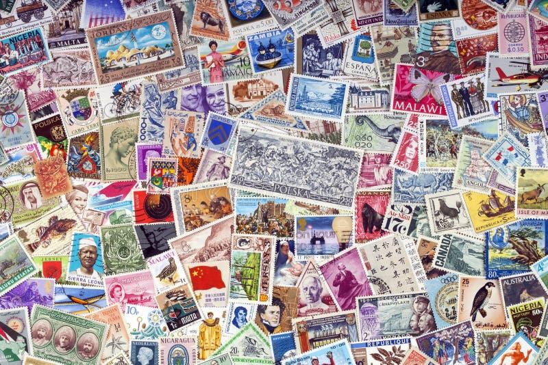 Selos postais do mundo - filatelia imagens de stock royalty free