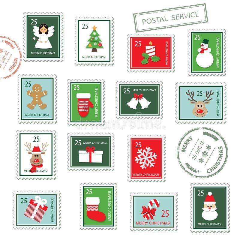 Selos postais do Natal ajustados ilustração stock