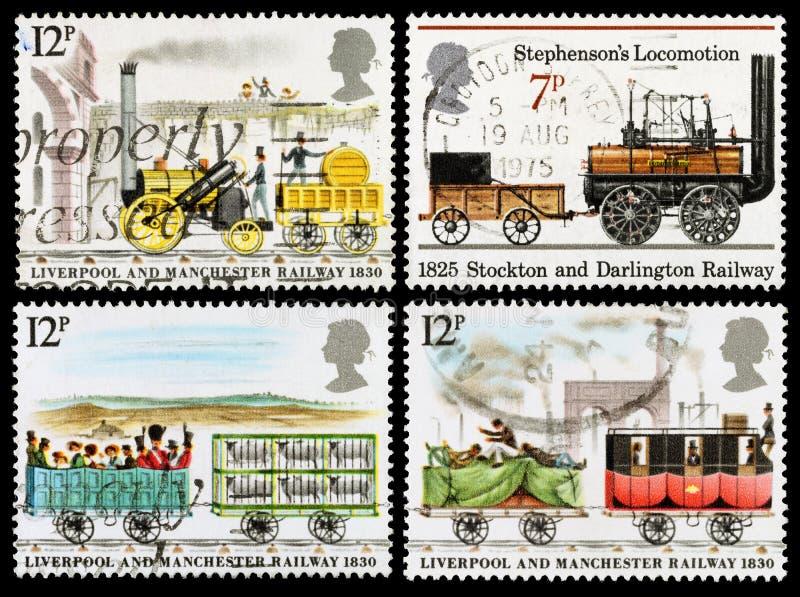 Selos postais do trem do vapor de Grâ Bretanha fotos de stock royalty free