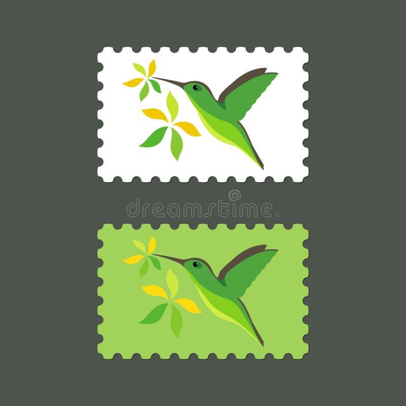 Selos postais do vetor com ícone do colibri foto de stock