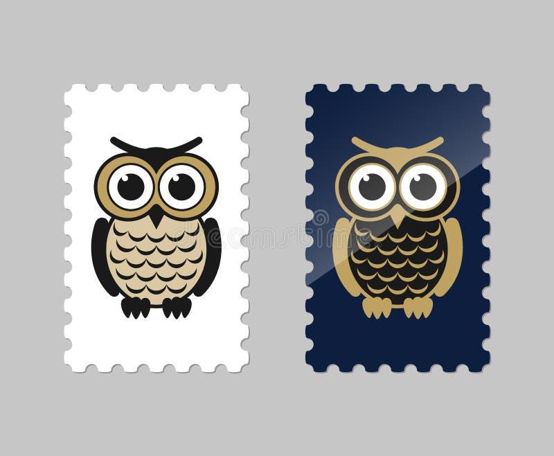 Selos postais do vetor com ícone da coruja imagem de stock