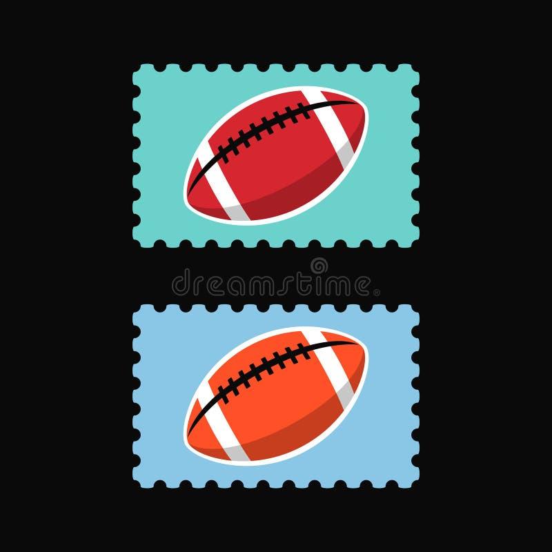 Selos postais do vetor com ícone do futebol americano fotografia de stock