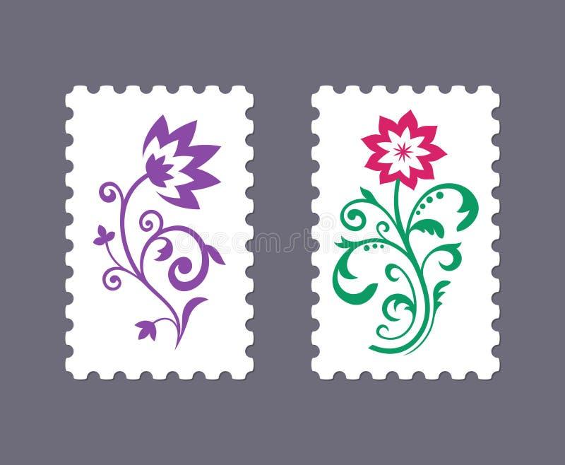 Selos postais do vetor com ícones florais fotos de stock royalty free