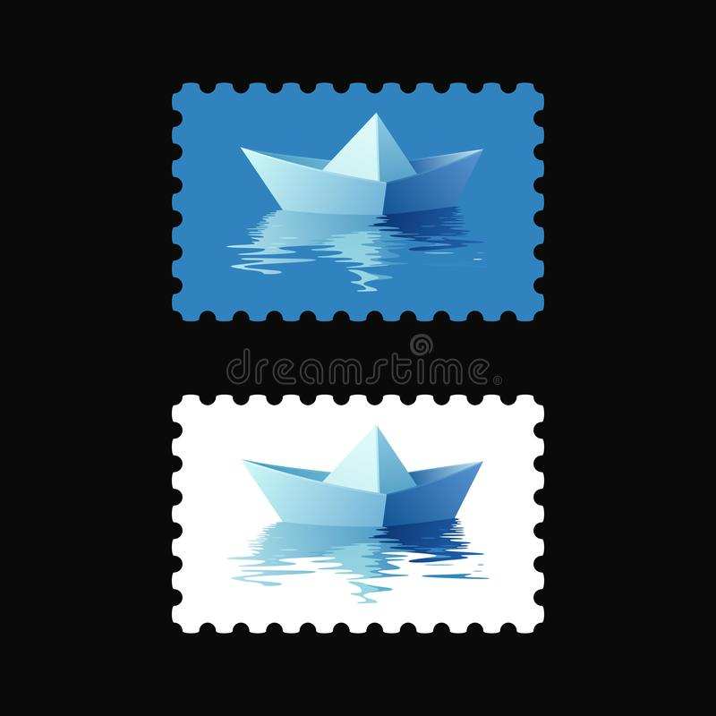 Selos postais do vetor com o barco do origâmi na água fotos de stock royalty free