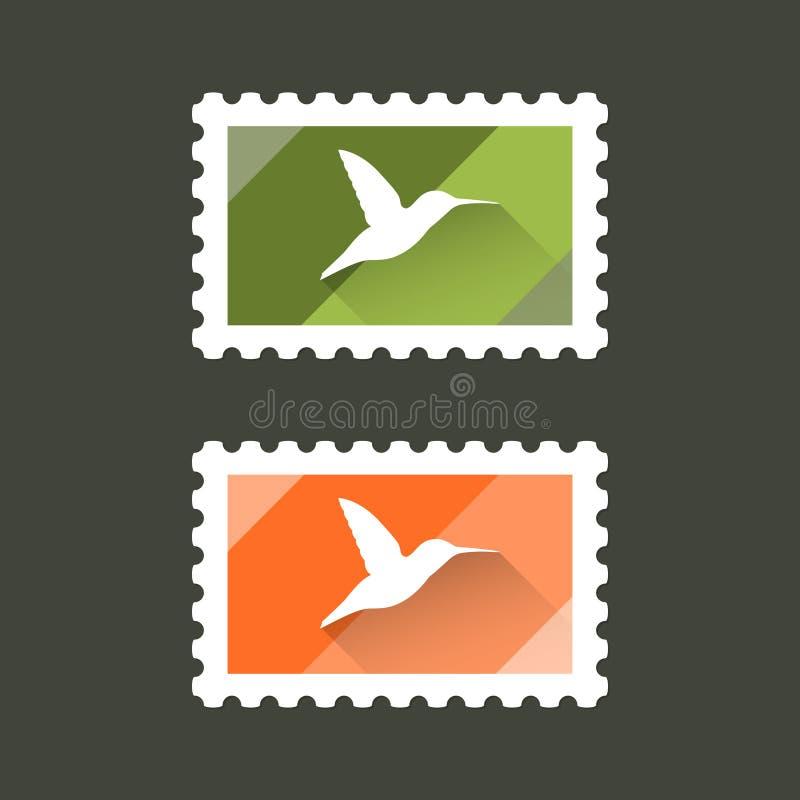 Selos postais do vetor com a silhueta do pássaro do zumbido imagem de stock royalty free