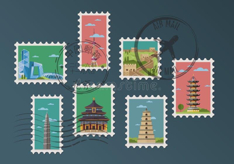 Selos postais e carimbos postais chineses ilustração stock